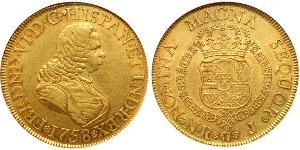 8 Escudo Viceroyalty of New Granada (1717 - 1819) Gold Ferdinand VI of Spain (1713-1759)