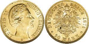 20 Mark Kingdom of Bavaria (1806 - 1918) Gold Ludwig II of Bavaria (1845 – 1886)