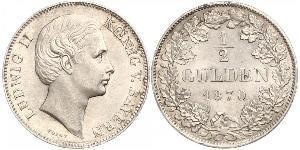 1/2 Gulden Kingdom of Bavaria (1806 - 1918) Silver Ludwig II of Bavaria (1845 – 1886)