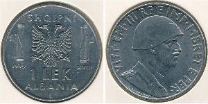 1 Lek 阿尔巴尼亚王国 (1939年-1943年) (1939 - 1943) Stainless steel 维托里奥·埃马努埃莱三世 (1869 - 1947)