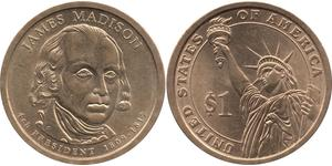1 Долар США (1776 - ) Латунь Джеймс Медісон (1751 - 1836)