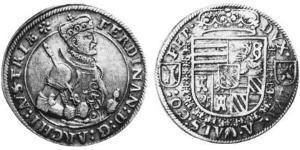 1/2 Thaler Alsazia Argento Ferdinando II d