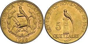 5 Quetzal Guatemala (1838 - ) Or