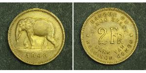 2 Franc Congo belge (1908 - 1960) Laiton