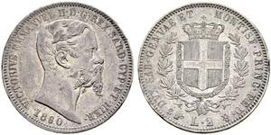 2 Lira Kingdom of Italy (1861-1946) Argento Victor Emmanuel II of Italy (1820 - 1878)