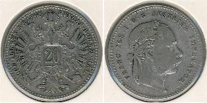 20 Kreuzer Autriche-Hongrie (1867-1918) Argent Franz Joseph I (1830 - 1916)