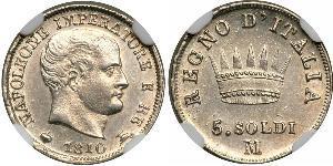 5 Сентесімо Королівство Італія (Наполеонівське) (1805–1814) Срібло Наполеон I Бонапарт(1769 - 1821)