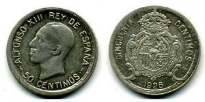 50 Сентимо Королевство Испания (1874 - 1931) Серебро