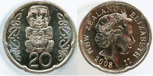 20 Cent Nuova Zelanda Rame/Nichel Elisabetta II (1926-)