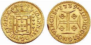 1000 Reis Regno del Portogallo (1139-1910) Oro Giovanni V del Portogallo (1689-1750)