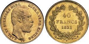 40 Франк Швеция Золото Карл XV (1826 - 1872)