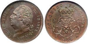 5 Centime Kingdom of France (1815-1830) Bronzo Luigi XVIII di Francia (1755-1824)
