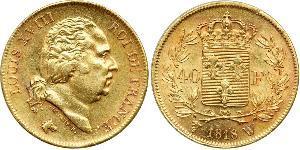 40 Franc Kingdom of France (1815-1830) Oro Luigi XVIII di Francia (1755-1824)