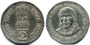 2 Рупия Индия (1950 - ) Никель/Медь