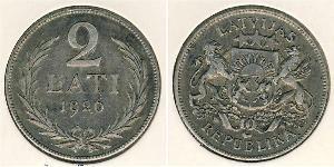 2 Lats Latvia Silver