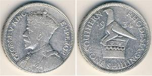 1 Shilling Southern Rhodesia (1923-1980) Plata Jorge V (1865-1936)