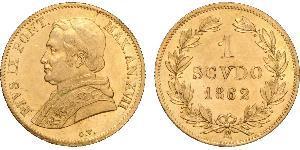 1 Scudo 教皇国 (754 - 1870) 金 Pope Pius IX (1792- 1878)