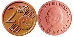 2 Eurocent Vatikan (1926-) Kupfer/Stahl John Paul II (1920 - 2005)