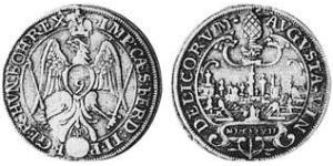 1/9 Thaler Imperial City of Augsburg (1276 - 1803) Silver Ferdinand II, Holy Roman Emperor  (1578 -1637)