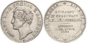 1 Thaler Royaume de Saxe (1806 - 1918) Argent Jean Ier de Saxe (1801-1873)