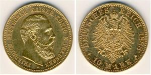 10 Марка Пруссия (королевство) (1701-1918) Золото