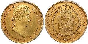 2 Эскудо Новая Испания (1519 - 1821) Золото Фердинанд VII король Испании (1784-1833)