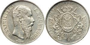 1 Peso Kaiserreich Mexiko (1864 - 1867) Silber Maximilian I of Mexico (1832 - 1867)