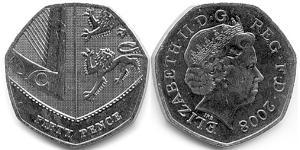 50 Пенни Великобритания (1922-) Серебро Елизавета II (1926-)