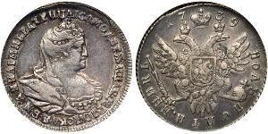 1/2 Rublo Impero russo (1720-1917) Argento Anna Ivanovna (1693-1740)
