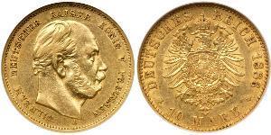 10 Mark 普魯士王國 (1701 - 1918) 金 威廉一世 (德国)