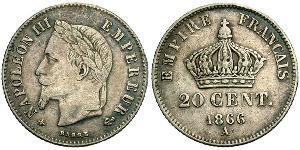 20 Centime Second French Empire (1852-1870) Silver Napoleon III (1808-1873)