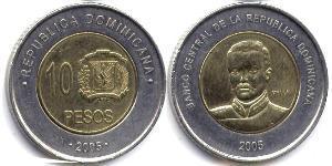 10 Peso Repubblica Dominicana Bimetal