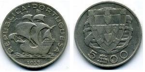 5 Escudo Portuguese Republic - Ditadura Nacional (1926 - 1933) Argento