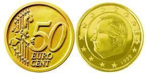 50 Евроцент Бельгия Алюминий/Цинк/Олово/Медь Альберт II король Бельгии