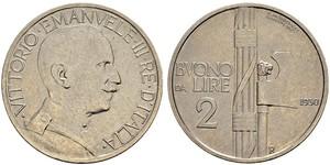 2 Lira Kingdom of Italy (1861-1946) Níquel Víctor Manuel III de Italia (1869 - 1947)