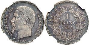 1 Franc Second French Empire (1852-1870) Silver Napoleon III (1808-1873)