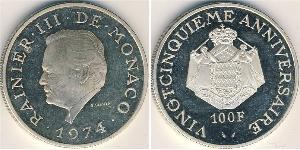 100 Franc Mónaco Plata Raniero III de Mónaco