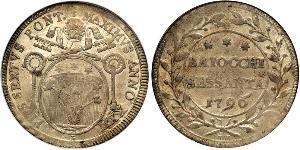60 Байокко Папська держава (752-1870) Срібло Пій VI ( 1717-1799)