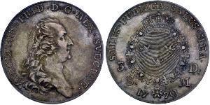 1 Riksdaler Suède Argent Adolf Frederick of Sweden (1710 - 1771)