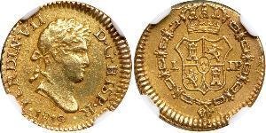 1/2 Escudo Vicereame del Perù (1542 - 1824) Oro Ferdinando VII di Spagna (1784-1833)