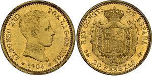 20 Peseta Kingdom of Spain (1874 - 1931) Gold Alfonso XIII of Spain (1886 - 1941)