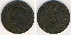 10 Sent Zweites Kaiserreich (1852-1870) Kupfer Napoleon III (1808-1873)