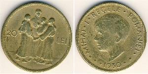 20 Лев Королевство Румыния (1881-1947) Никель/Латунь Михай I (1927-)