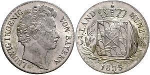 1 Kreuzer Reino de Baviera (1806 - 1918) Plata Luis I de Baviera(1786 – 1868)