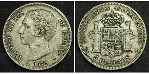5 Peseta Kingdom of Spain (1874 - 1931) Plata Alfonso XII of Spain (1857 -1885)