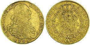 4 Escudo Vicereame della Nuova Granada (1717 - 1819) Oro Carlo IV di Spagna (1748-1819)