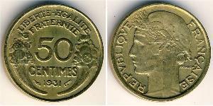 50 Centime French Third Republic (1870-1940)  Bronze/Aluminium