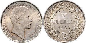 1/2 Gulden Grand Duchy of Baden (1806-1918) Argento Federico I di Baden (1826 - 1907)