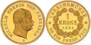 1 Крона Пруссия (королевство) (1701-1918) Золото Wilhelm I, German Emperor (1797-1888)