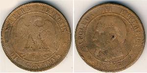 10 Centime Second French Empire (1852-1870) Bronze Napoleon III (1808-1873)